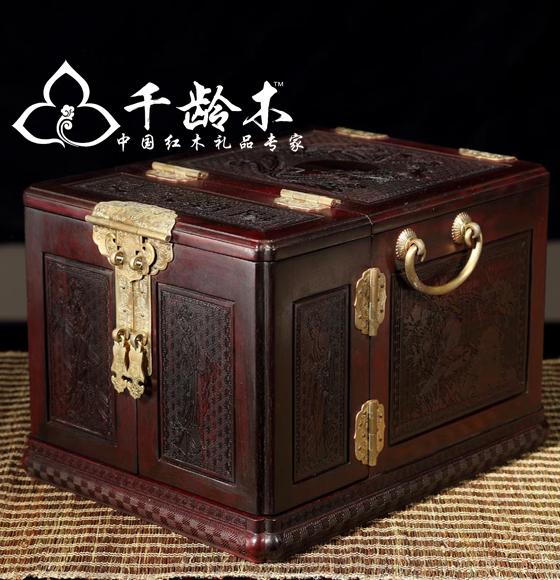 千龄木 双凤朝阳老挝大红酸枝 古典首饰盒